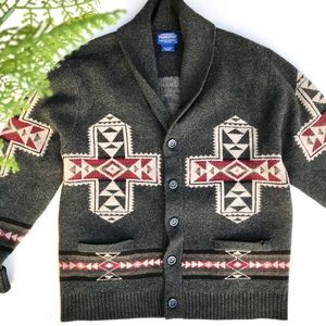 Pendleton Large Cross Wool Cardigan Sweater. Large